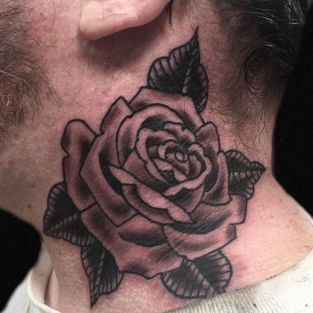 Thanks for letting me put this rose on your neck Jared! @mainsttattootn  Email: ChrisLacyTattoo@gmail.com . . . #nashvilletattoo #vatattoo #staunton #springfieldtn #greenbriertn #clarksvilletn #clarksvilletattoo #traditionaltattoo #realtattoos #realtraditional #americanatattoos #vatattoo #rosetattoo #madisontn #nashville #nashvilleexplorersclub #staunton #temeculatattoo #temecula #blackandgreytattoo #necktattoo