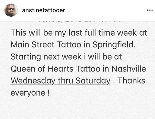 If you would like to get tattooed by @anstinetattooer this will be his last week at the shop. He may be back from time to time to sit in. We will keep you posted. We wish him the best of luck at @queenofheartstatt2