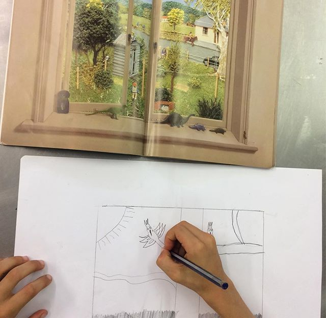 Window drawings inspired by the book 'Window' by Jeannie Baker #art #drawing #landscape #environment #artclass #kidsart #artsudio #brisbane #brisbanekids @dees_arthouse