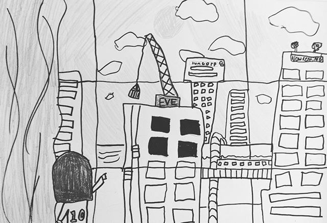 View through my window - inspiration from 'Window' by Jeannie Baker #artsudio #art #drawing #landscape #citylife #contruction #kidsart #artclass #penandink #brisbane #brisbanekids @dees_arthouse
