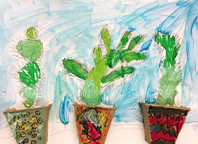 Cool cacti 🌵 #cactus #plants #painting #drawing #art #artclass #kidsart #artstudio #creativity #brisbanekids #brisbane @dees_arthouse