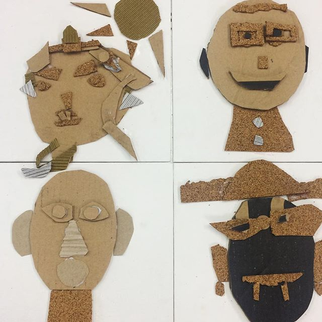 Cardboard and cork portraits #portraiture #art #faces #collage #cardboard #cork #kids #kidsart #artclass #studio #school #brisbane #brisbanekids @dees_arthouse