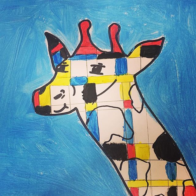 Mondrian inspired giraffe #pietmondrian #drawing #painting #colour #pattern #animals #giraffe #art #artclass #kidsart #artstudio #brisbane #brisbanekids @dees_arthouse
