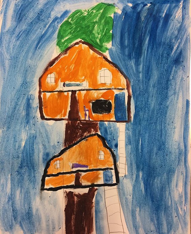 Tree houses 🏡 #construction #architecture #design #dwelling #house #tree #treehouse #pencil #sketch #watercolour # paint #kids  #kidsart #drawing #painting #artclass #studio #brisbane @dees_arthouse