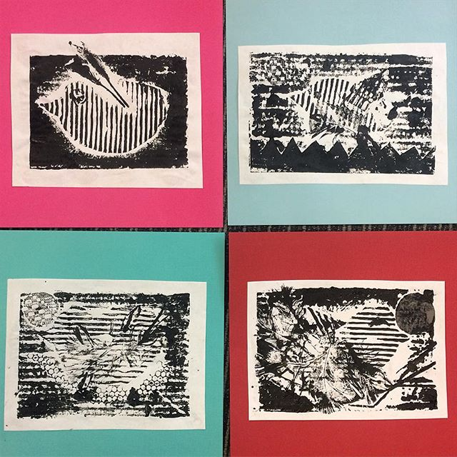Some beautiful bird prints from today's Printmaking workshop! #print #printmaking #ink #collage #bird #art #kids #kidsart #artclass #workshop #holidayfun #noosa #sunshinecoast #noosaleisurecentre