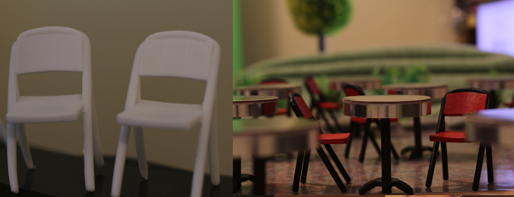 1. 3D printed chairs, unpainted. 2. Early layout with the finished painted chairs and tables.