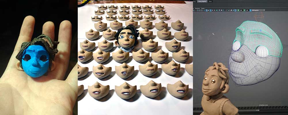 1. unpainted face 2. finished faces 3. maquette vs 3D model