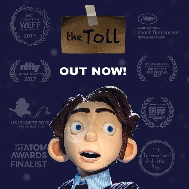 "🎥 My graduate film ""the Toll"" is finally online and ready to watch! 🎥 Link in my bio. It's about a lonely tollbooth operator doing the night shift in the middle of nowhere. #thetoll #stopmotion #animation #shortfilm . Over the past year the film has been screened at various festivals and events including the Cannes Short Film Corner in France. It also won Best Animation at the West End film festival. . Big thankyou to my fantastic supervisors and mentors who guided me through it and to all my talented friends who helped make it. Watch the film over on vimeo.com/lachlanpendragon and check out behind the scenes on my website lachlanpendragon.com"