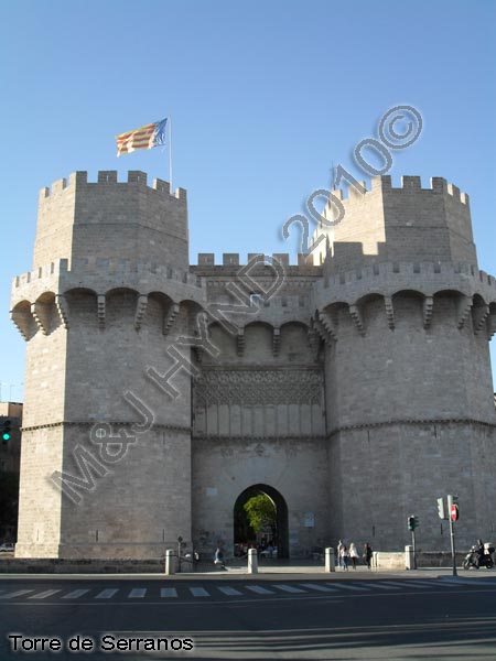 spain Valencia Torre de Serranos, gothic-style Serranos Gate or Serranos Towers, ancient city-walls, best preserved monument