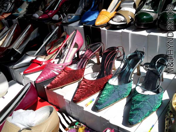 spain santa Pola Saturday market display stiletto kitten-heeled shoes