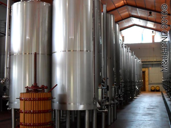 spain Jumilla, Murcia, wine route Casa de la Ermita Bodegas, wine tour, aging wine process stainless steel vats