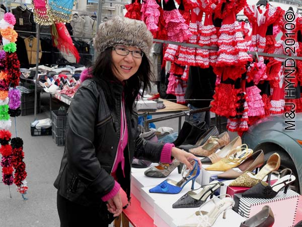 spain santa Pola Saturday market shopping for dressy stiletto shoes, flamenco dresses, harem outfits, shawls