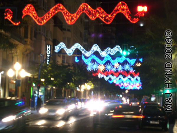 spain downtown Alicante, fiesta nochevieja New Years Eve, Christmas lights