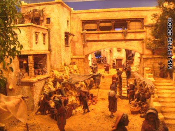 spain elche Fiesta Belen Christmas Nativity, inside of Bancaja Belen, miniature Nativity scene from bible