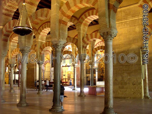 cordoba: Spain, Mezquita Cordoba, Andalucia, cathedrale-great mosque, hypostyle prayer hall, columns, jasper, onyx, marble, granite, Moorish architecture, double arches, lower horseshoe arch