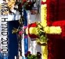 crosses decorated in colourful flowers, spring fiesta festival in Santa Cruz, Alicante