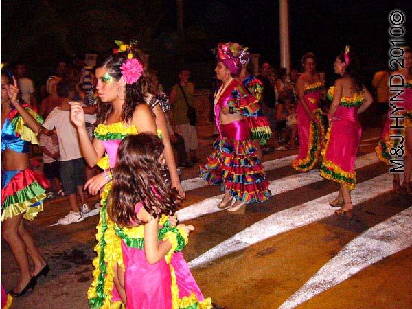 charanga #1: spain valverde fiesta  La Virgen de Santa Ana, parades, dance flamenco-dressed women procession