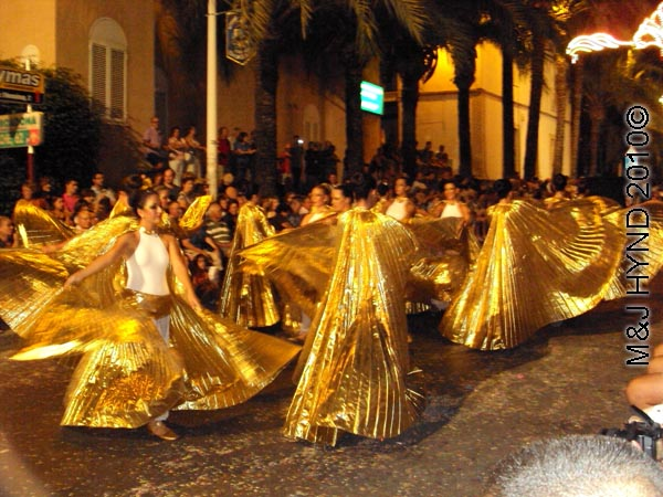 parade – silver: spain Santa Pola Annual Fiesta, parade, gold, angel, isis-wing dance
