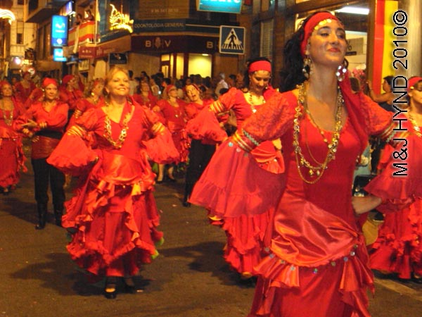 parade – red: spain Santa Pola Annual Fiesta, parade, red-flamenco gypsy dance
