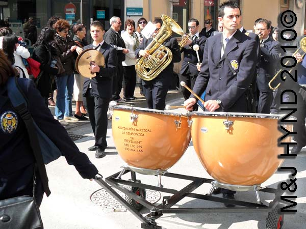 big drums: spain Santa Pola Annual Fiesta, live music, brass bands, huge drums on trundle