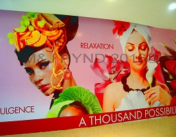 Banner billboard natural products beauty, Carmen Miranda head-dress, mango, peaches, grapes, dress of cabbage leaves, hibiscus, chocolate-buttton necklace