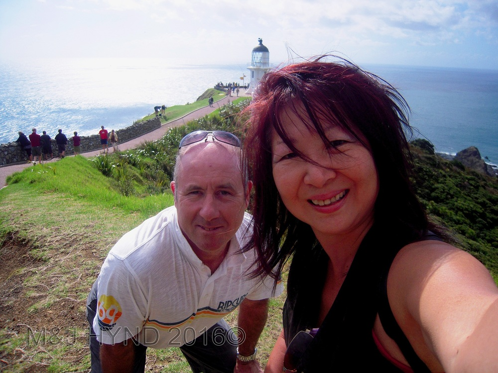 cape reinga, NZ: lighthouse, where the pacific ocean meets the tasman sea