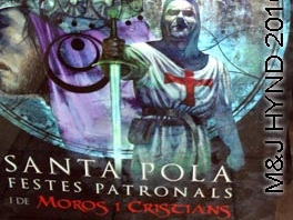 spain santa pola festes patronals festival Christian knight and Moorish princess Moors and Christians reenactment fiesta banner
