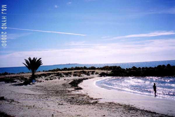 Spain, one of the many safe, half-moon beaches lovely soft sand, Santa Pola del este