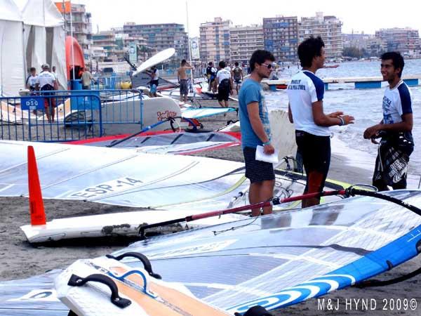 Spain Santa Pola, world championship round 2009: surf-sailing, town in background