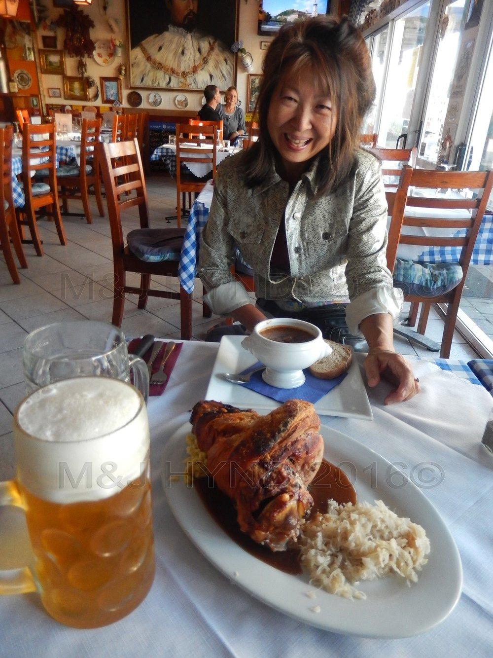 Der Metz restaurant Oktoberfest gulaschuppe beer pork hock, Auckland, NZ