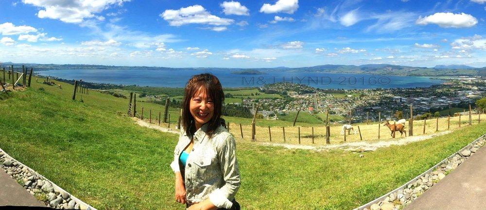 Ngongataha Hill, Rotorua in the background, NZ