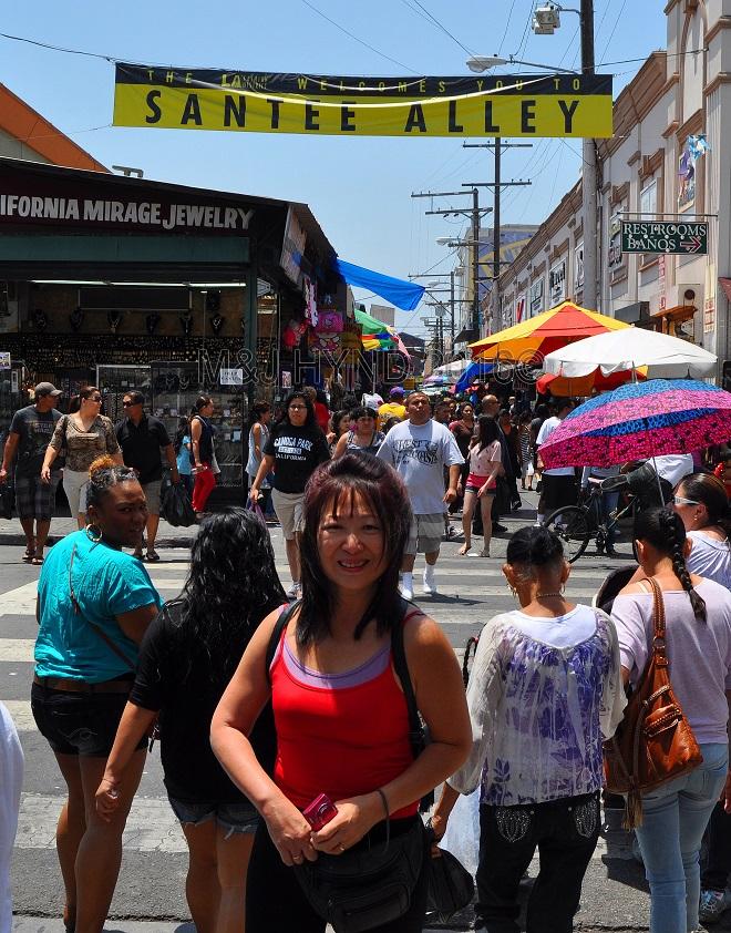 crowds at Santee Alley, Fashion District, LA, USA