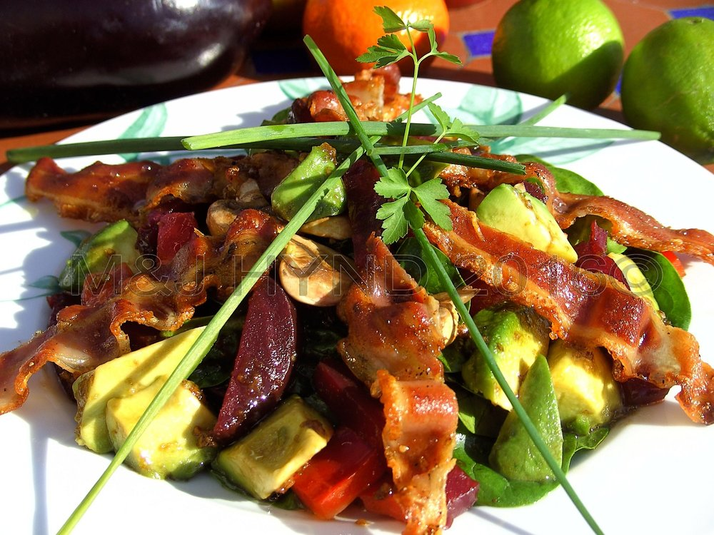 Salad With Bacon, Travels with a One-Handed Cook, recipe, Jacqui Hynd