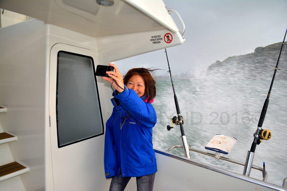 onehand selfie on speeding charter boat, Waitemata Harbour, Auckland, NZ