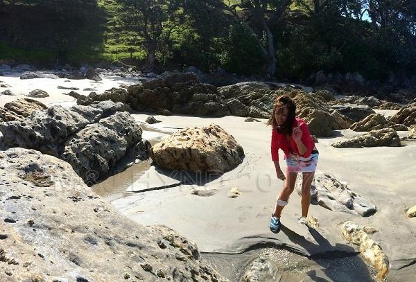 walk and sink, beach at Mount Maunganui,  NZ