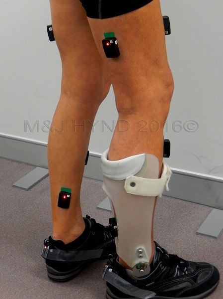 Sensors attached in the walking lab