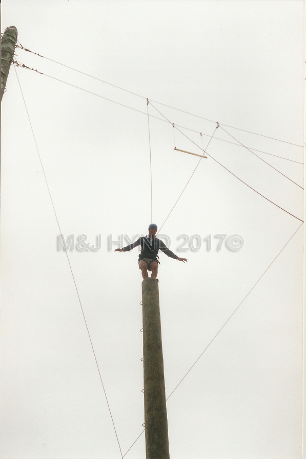 Rock+Ropes, balancing on the pole, Taupo, NZ