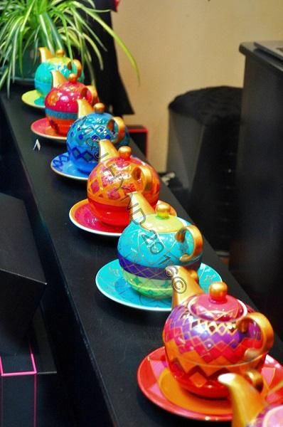 arcade shopfront tea pots, London, UK