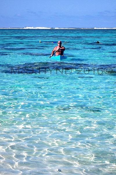 kayaking in Vaimaanga lagoon, Vaimaanga, Rarotonga, Cook Islands