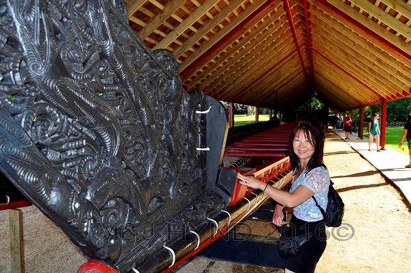 Historic Waitiangi ; native carved war canoe, Northland, NZ