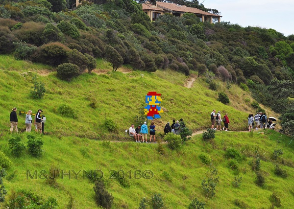 hilly sculpture trail, Sculpture On The Gulf, Waiheke Island, NZ