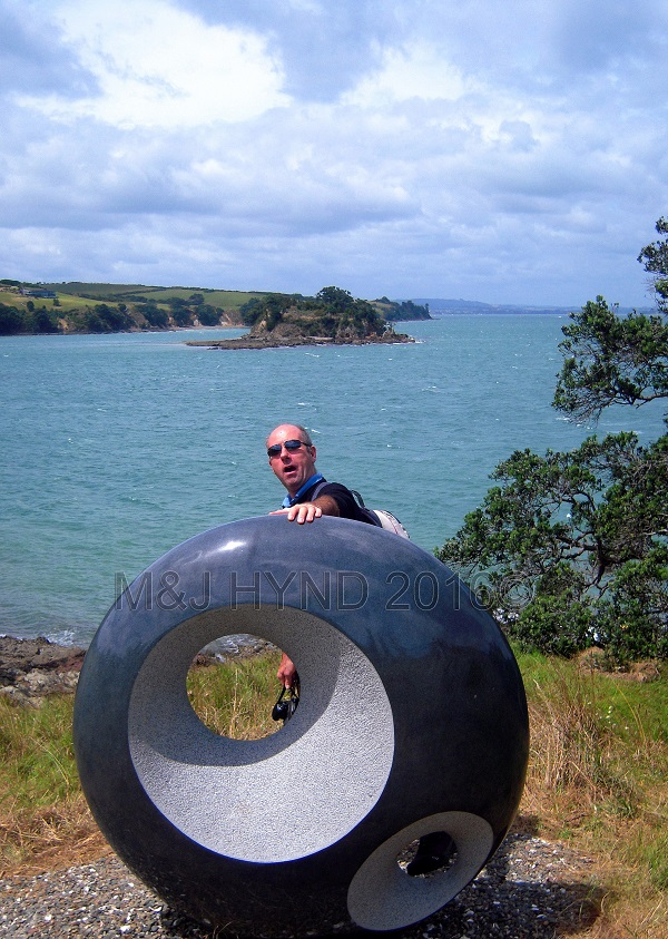 obsidian sphere looking out to sea, Sculpture On The Gulf, Waiheke Island, NZ