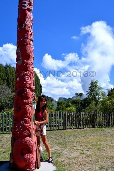 Maori totem pole, Wairekei Terraces, Geothermal Valley, Taupo, NZ