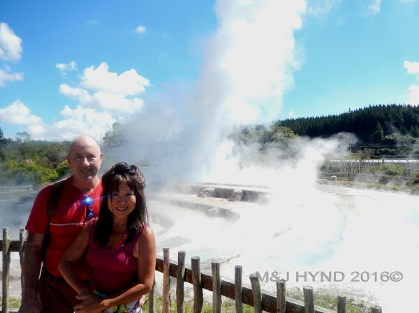 steam covered terraces, Wairekei Terraces, Geothermal Valley, Taupo, NZ