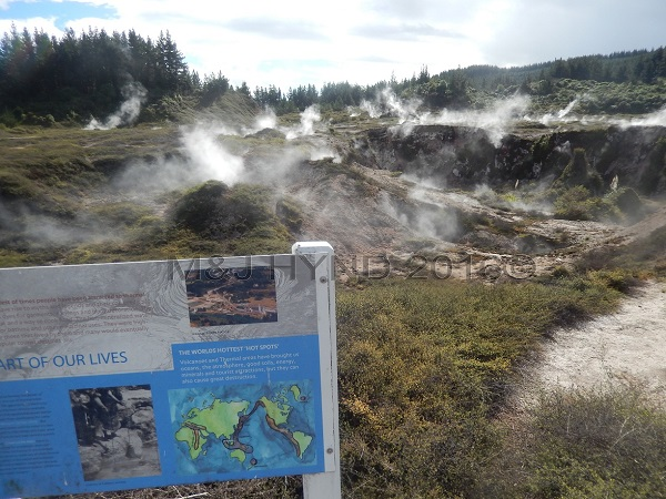 steaming fumaroles, Craters of the Moon sign, Taupo, NZ