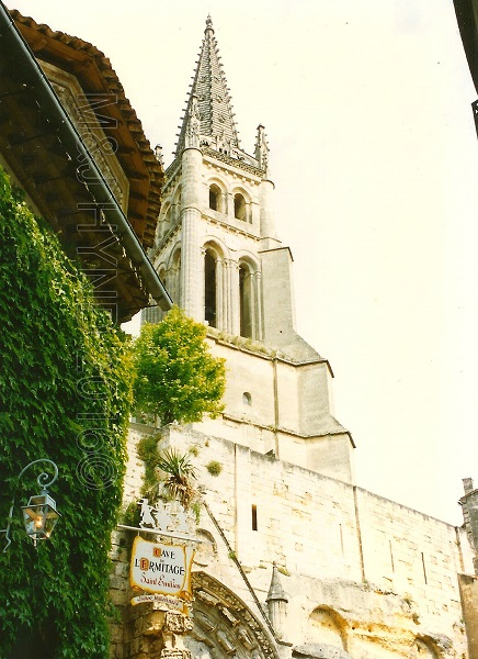 steeple and Cave de l'Ermitage, St. Emilion, Gironde, France