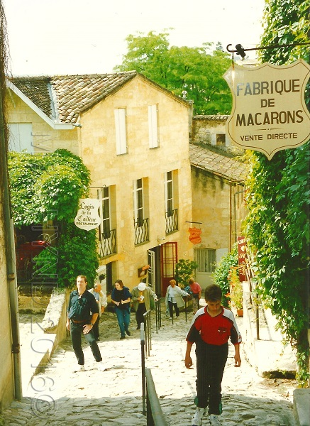 cobbled lane Fabrique de Macarons, St. Emilion, Gironde, France
