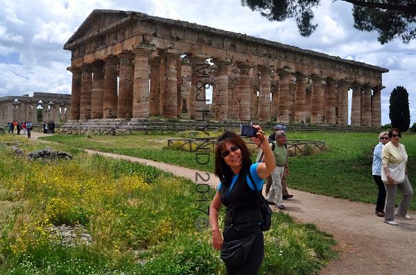 ruins ancient Doric Greek temple, Paestum, Italy