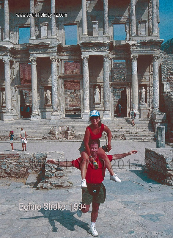 2-up balancing act, Library of Celsus at Ephesus, turkey