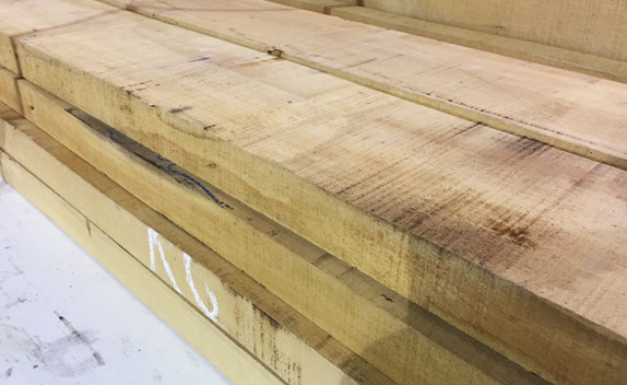 Rough sawn timber stock ready for custom milling